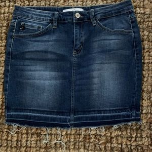 KanCan Distressed Denim Mini Skirt